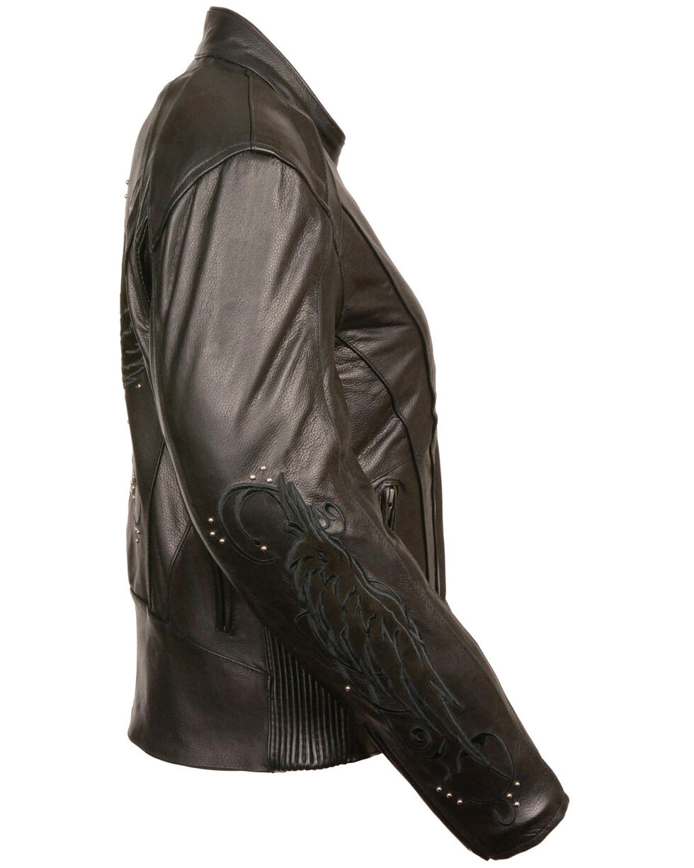 Milwaukee Leather Women's Stud & Wing Leather Jacket - 4XL, , hi-res