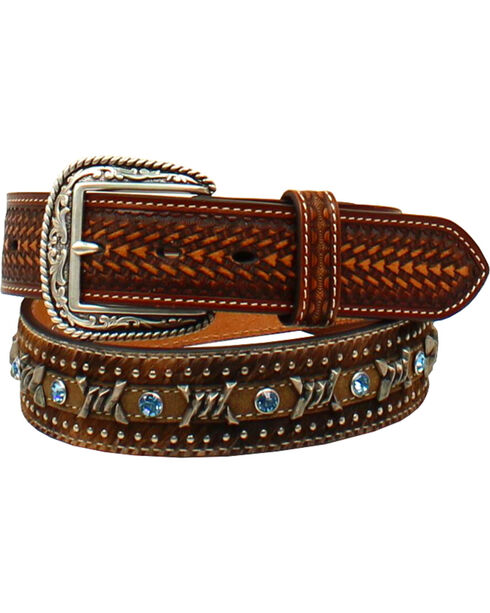 Ariat Men's Rhinestone Hair Barbwire Lacing Belt , Brown, hi-res