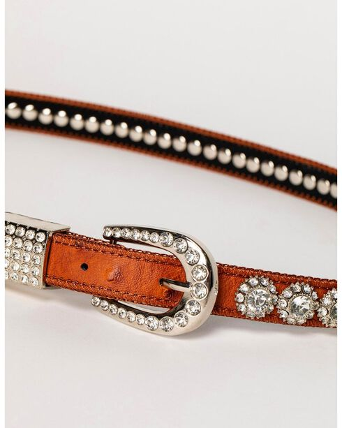 Shyanne® Girl's Ostrich Print Rhinestone Belt, Brown, hi-res
