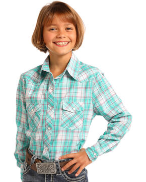 Panhandle Girls' Green Plaid Long Sleeve Snap Shirt, Green, hi-res