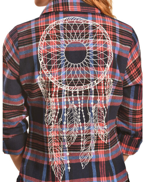 Derek Heart Women's Dreamcatcher Print Navy Plaid Tunic, Coral, hi-res