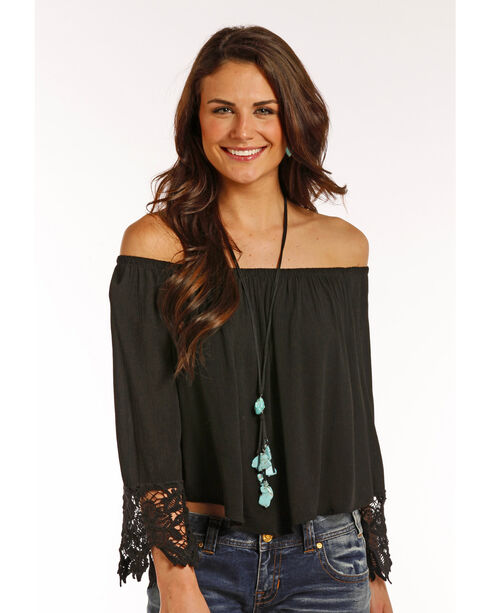 Panhandle Women's Lace Trimmed Sleeves Crinkle Peasant Top, Black, hi-res