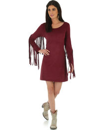 Wrangler Women's Wine Faux Suede Fringe Sleeve Dress, , hi-res