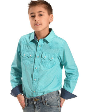 Cody James Boys' Tanto Long Sleeve Print Western Shirt, Turquoise, hi-res