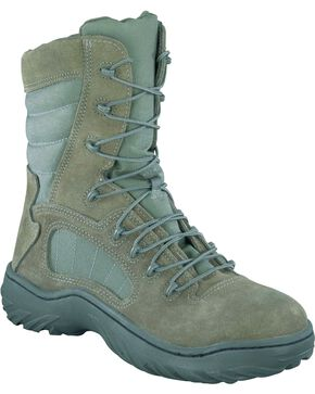 "Reebok Men's 8"" Lace-Up Side Zip Tactical Work Boots - Steel Toe, Sage, hi-res"