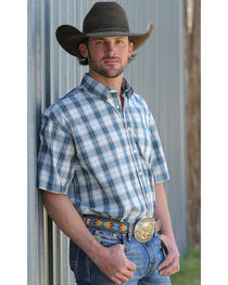 Cinch Men's White Short Sleeve Weave Shirt , , hi-res
