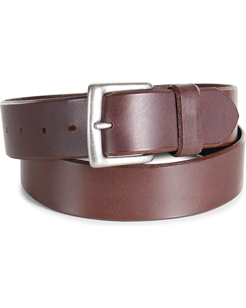 American Worker® Men's Smooth Leather Western Belt, Brown, hi-res