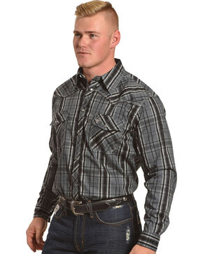 Cowboy Hardware Men's Charcoal Distressed Plaid Long Sleeve Shirt, Charcoal, hi-res