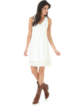 Wrangler Women's V Neck Crochet Trim Sleeveless Dress, Ivory, hi-res