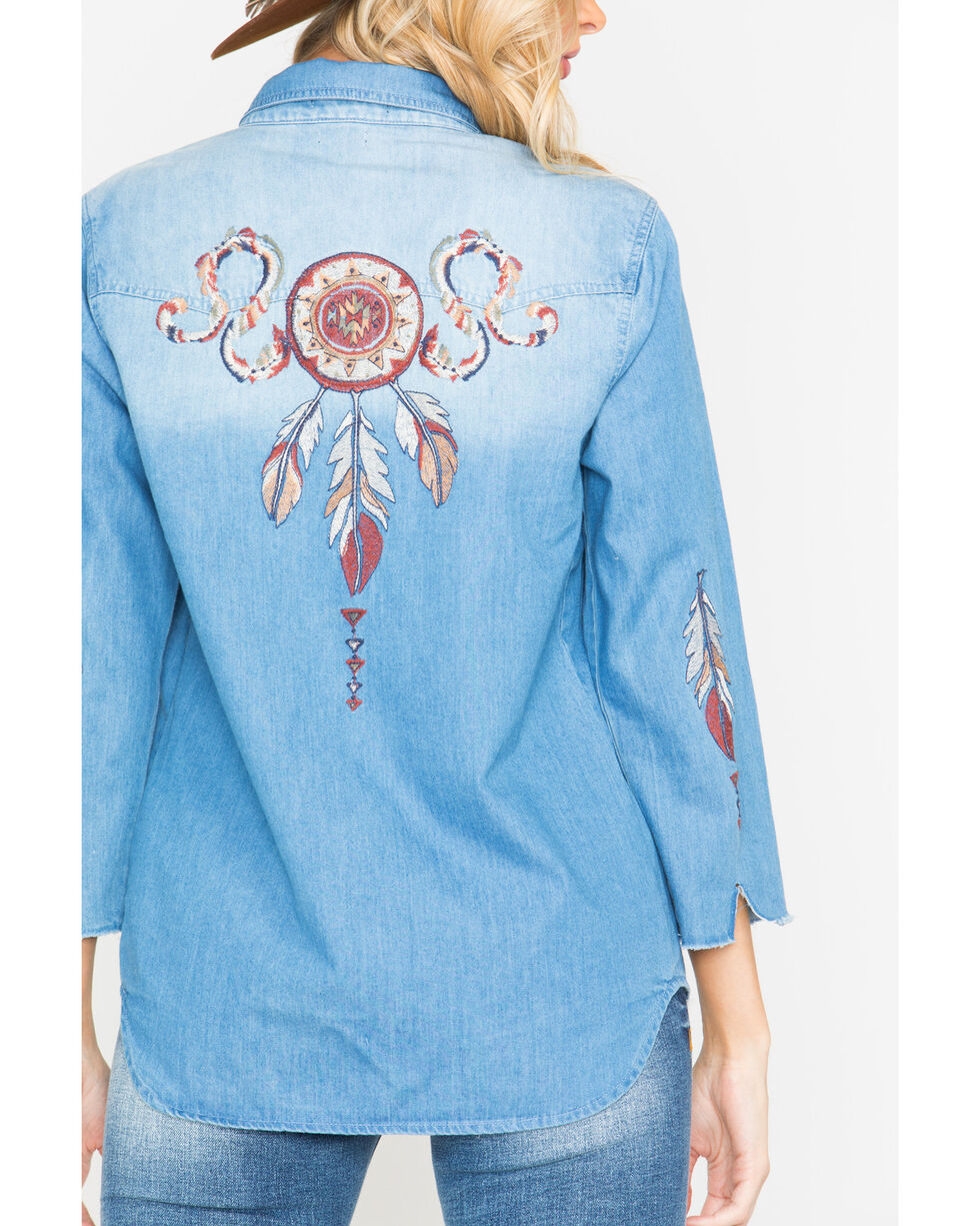Miss Me Women's Dream Catcher Long Sleeve Denim Shirt, Indigo, hi-res