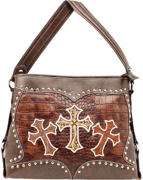 Blazin Roxx Embroidered Crosses Shoulder Bag, Brown, hi-res