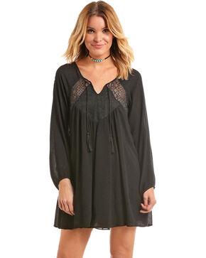Panhandle Women's Lace Insert Crinkle Peasant Dress, Black, hi-res