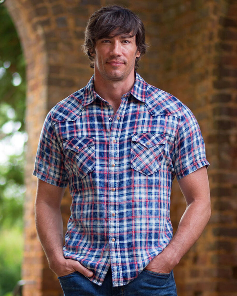 Ryan Michael Men's Red Stripe Plaid Shirt , Indigo, hi-res