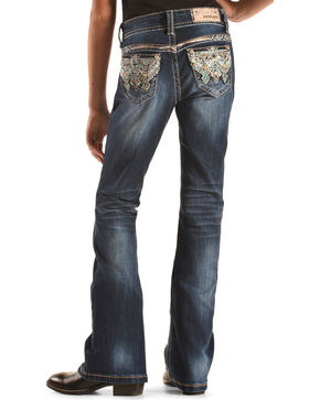 Grace in LA Girls' Rhinestone Aztec Boot Cut Jeans , Indigo, hi-res