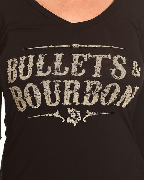 Rock & Roll Cowgirl Women's Black Bullets & Bourbon V-Neck Tee , Black, hi-res