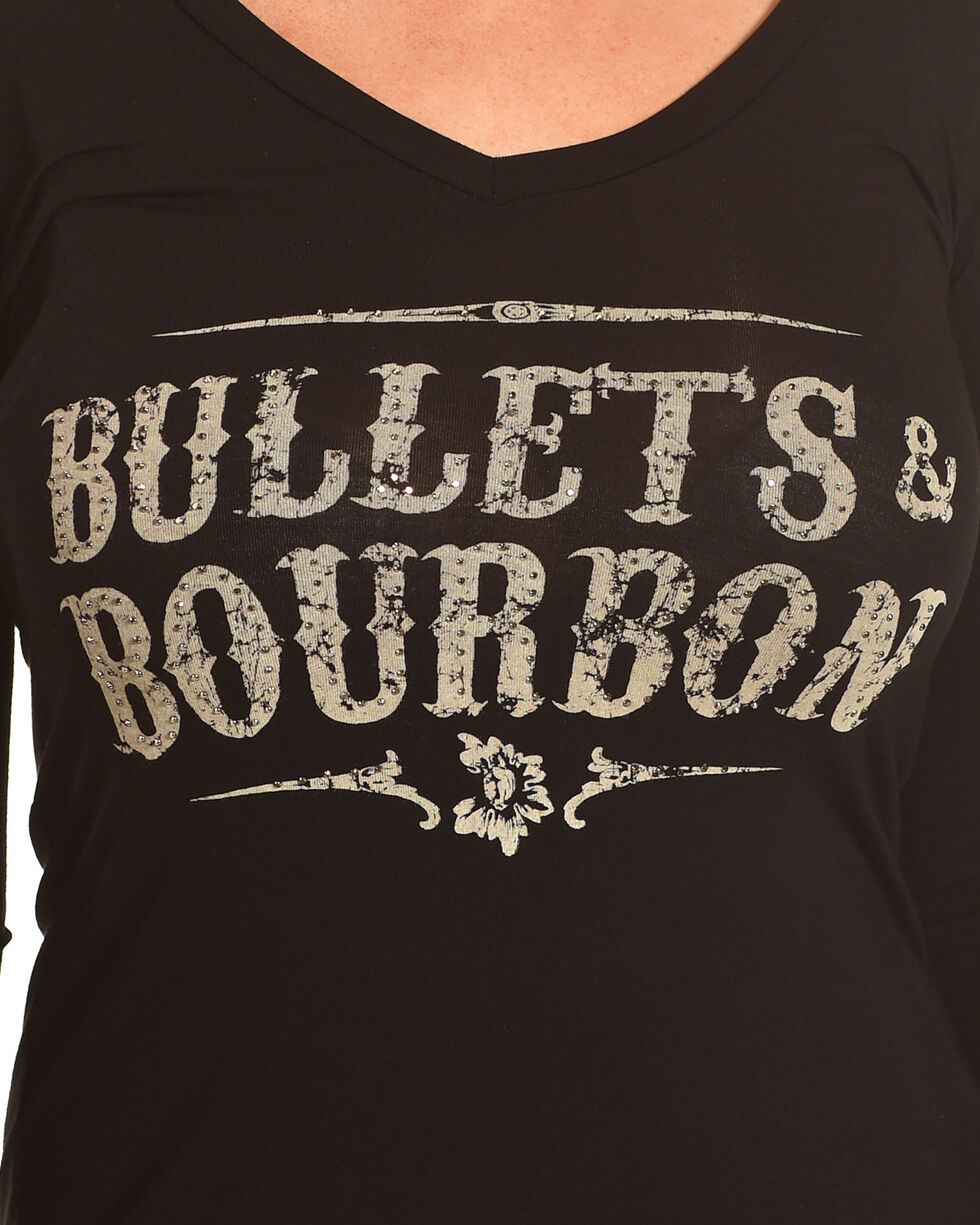 Rock & Roll Cowgirl Women's Black Bullets & Bourbon V-Neck Tee , Black, hi-res