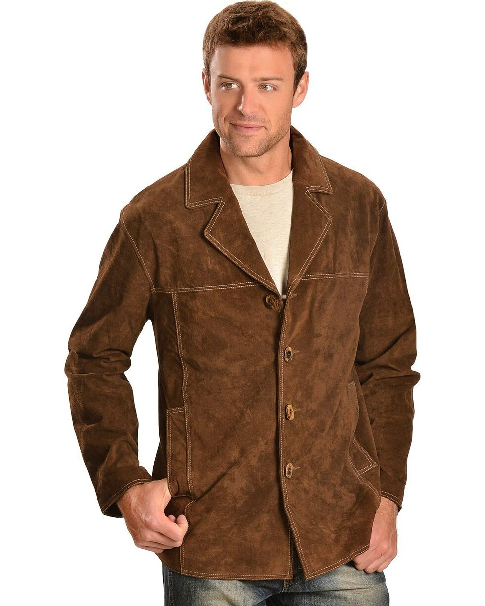 Scully Men's Boar Suede Car Coat, Brown, hi-res