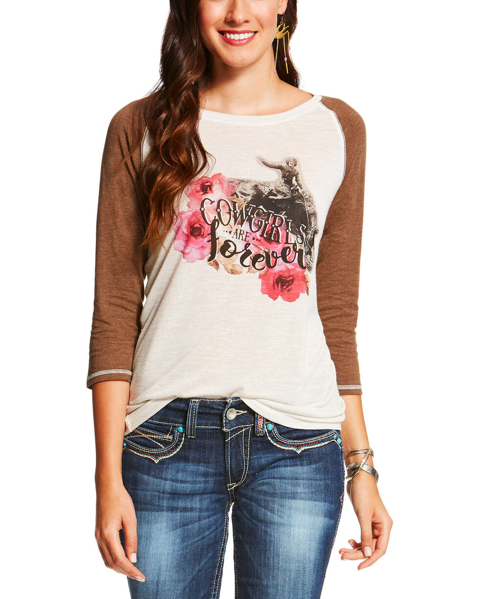 Ariat Women's Cream Cowgirls Are Forever Tee , Cream, hi-res