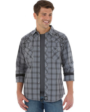 Wrangler Rock 47 Men's Grey Plaid Western Shirt , Grey, hi-res