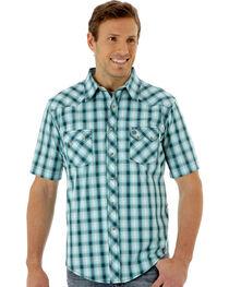 Wrangler Men's Green Plaid Short Sleeve Western Shirt, , hi-res