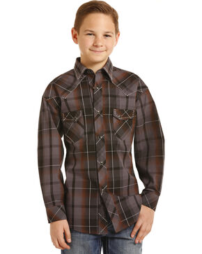 Rock & Roll Cowboy Boys' Poplin Paisley Print Saddle Stitch Snap Shirt, Brown, hi-res