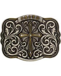 Montana Silversmiths Cross & Faith Attitude Belt Buckle, , hi-res