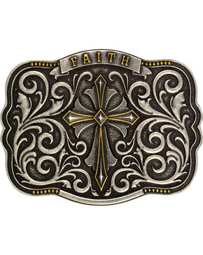 Montana Silversmiths Cross & Faith Attitude Belt Buckle, Antique Silver, hi-res