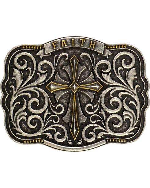 Montana Silversmiths Cross & Faith Attitude Belt Buckle, Antique Silver, hi-res