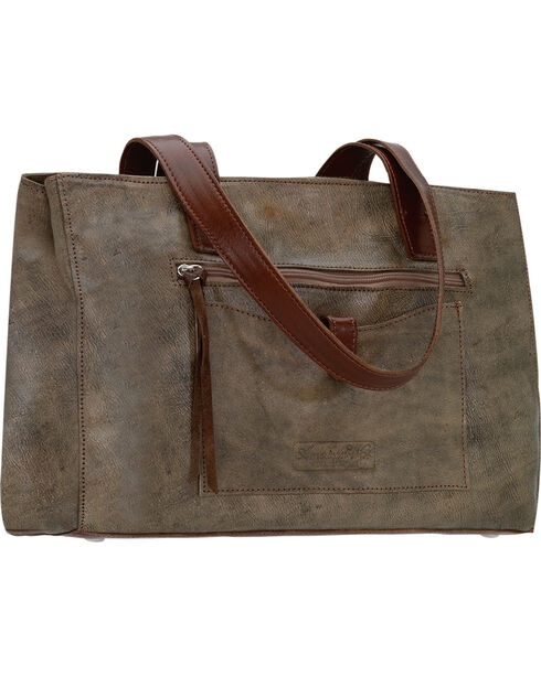 American West Women's Cross My Heart Shopper Tote with Outside Pocket, Rustic Brn, hi-res