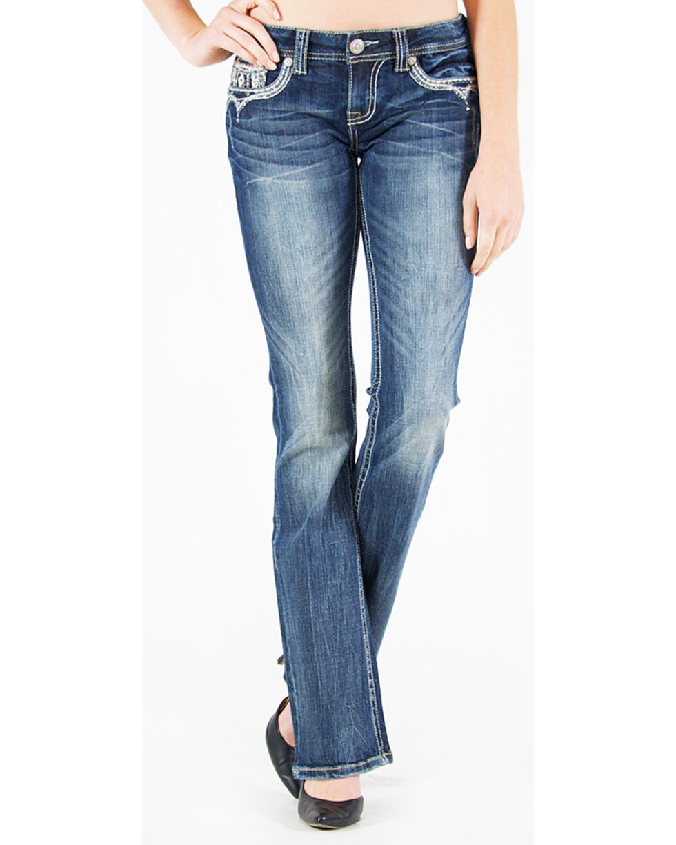 Grace in LA Women's Low Rise Embellished Pocket Jeans - Boot Cut, , hi-res