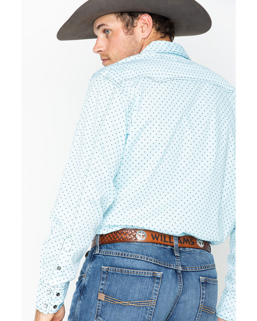 Cinch Men's Light Blue Dotted Modern Fit Shirt , Light Blue, hi-res