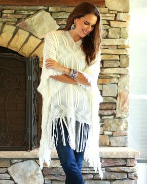 Wrangler Women's Ivory Sweater Poncho , Ivory, hi-res