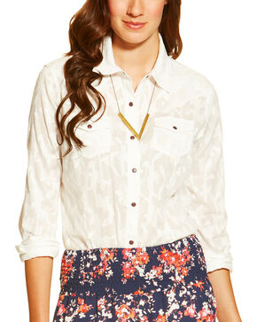 Ariat Women's Maggie Snap Shirt, White, hi-res