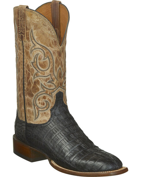 Lucchese Men's Handmade Haan Hornback Caiman Tail Western Boots - Square Toe, Black, hi-res