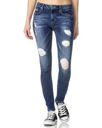Miss Me Women's Indigo Distressed Cuff Jeans - Skinny , , hi-res