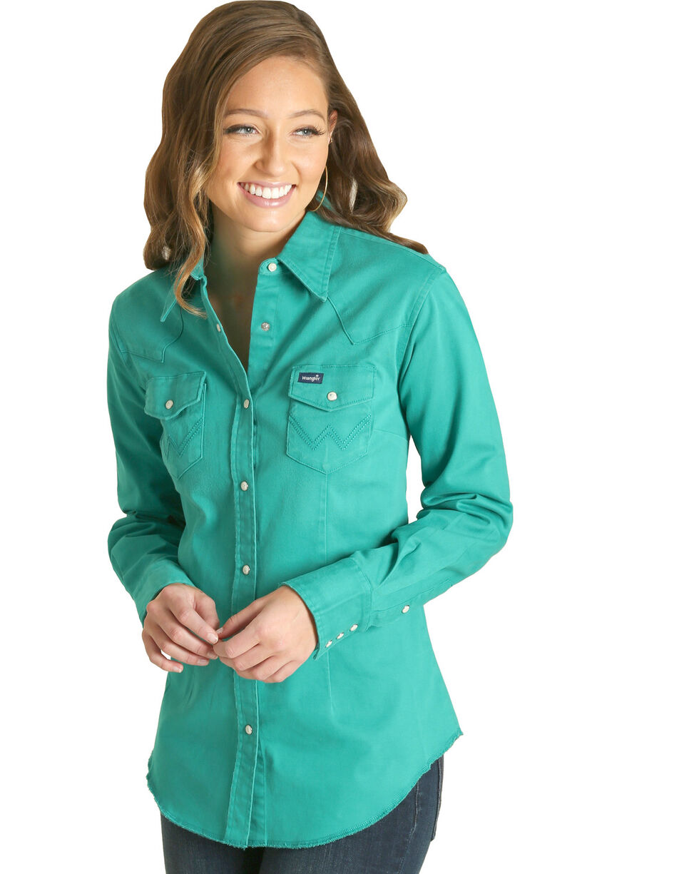 Wrangler Women's Jade Long Sleeve Western Shirt , Green, hi-res