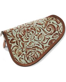 3D Small Floral Tooled Leather Pistol Case, , hi-res