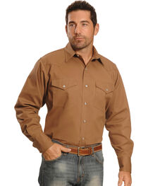 Crazy Cowboy Men's Tan Western Work Shirt - Big & Tall, , hi-res