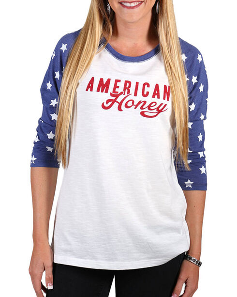 Shyanne® Women's American Honey Baseball Tee, Multi, hi-res