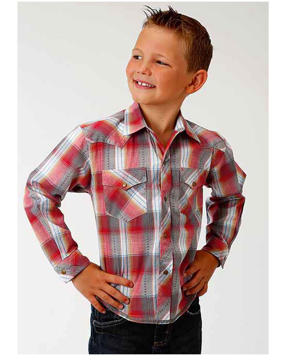 Roper Boy's Red Plaid Western Long Sleeve Shirt, Red, hi-res