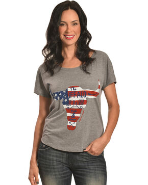 Bohemian Cowgirl Women's Pride & Honor Longhorn Skull Graphic Tee, Grey, hi-res