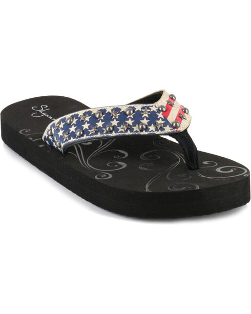 Shyanne® Women's American Flag Sandals, Red/white/blue, hi-res