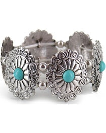 Shyanne® Women's Silver and Turquoise Ornate Bracelet, , hi-res