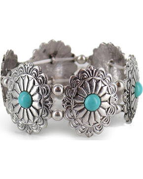 Shyanne® Women's Silver and Turquoise Ornate Bracelet, Turquoise, hi-res