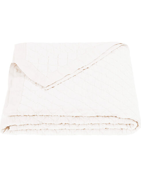 HiEnd Accents Diamond Pattern White Linen King Quilt, White, hi-res