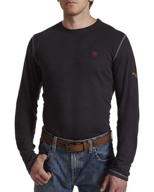 Ariat Men's Black FR Polartec Baselayer Long Sleeve Shirt , Black, hi-res