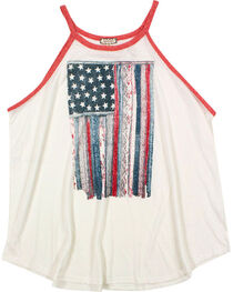 Eyeshadow Women's Plus Mixed Pattern American Flag Graphic Tank, Ivory, hi-res