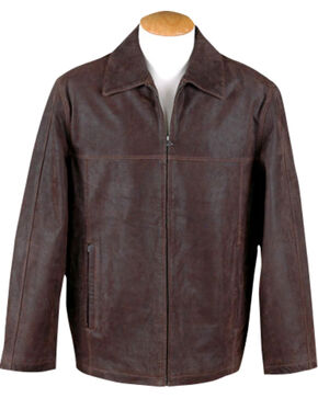 China Leather Men's Brown Distressed Leather Jacket , Brown, hi-res