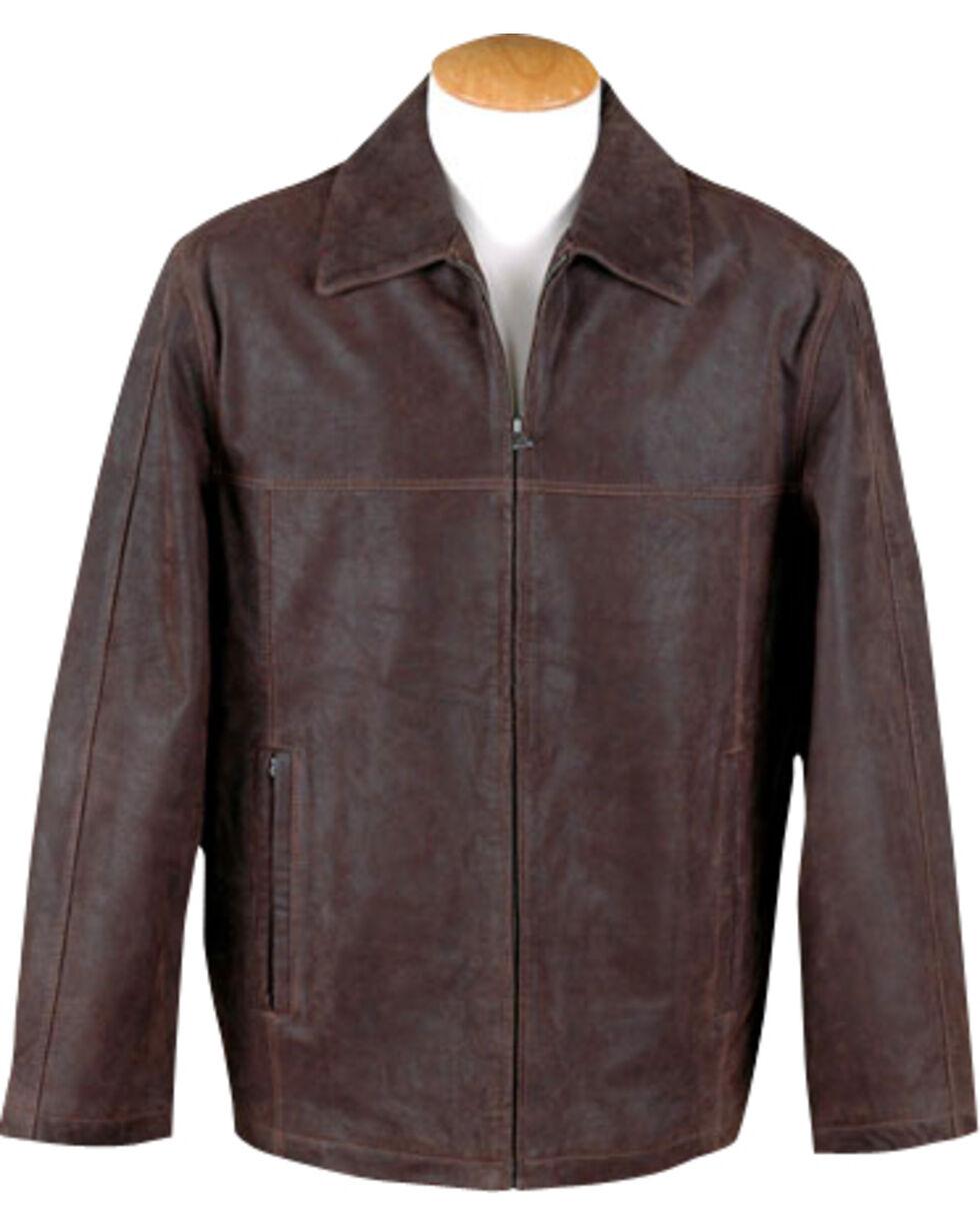 Vintage Leather Men's Brown Distressed Leather Jacket , Brown, hi-res