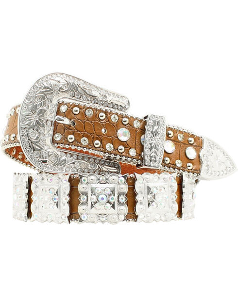Nocona Belt Co. Women's Square Rhinestone Concho Belt, Brown, hi-res